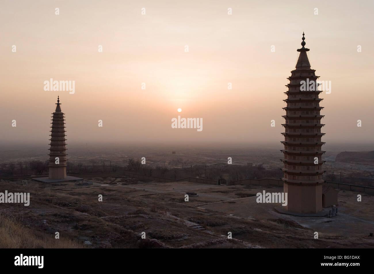 Lits 1 pagodes de Baishikou près de Yinchuan, Ningxia Province, China, Asia Banque D'Images