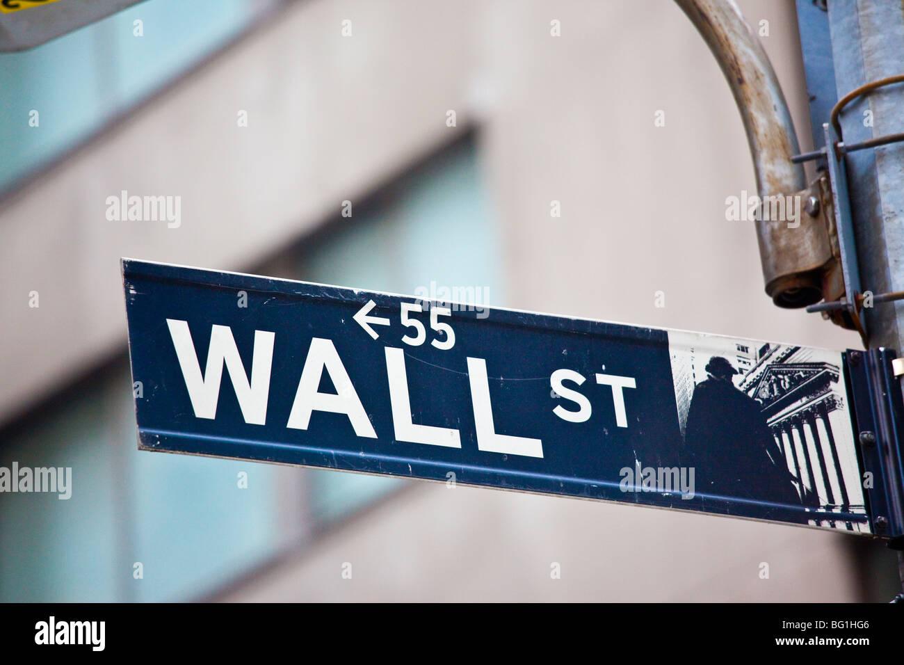 Wall Street le quartier financier du centre-ville de Manhattan Photo Stock