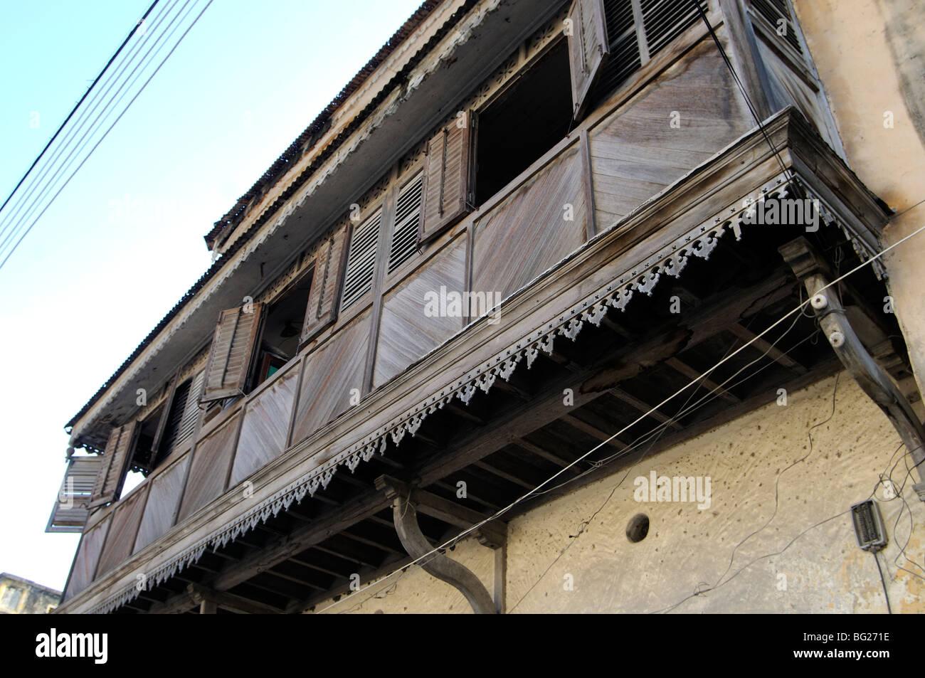 Chambre Balcon à Ndia Kuu, Vieille Ville, Mombasa, Kenya Photo Stock