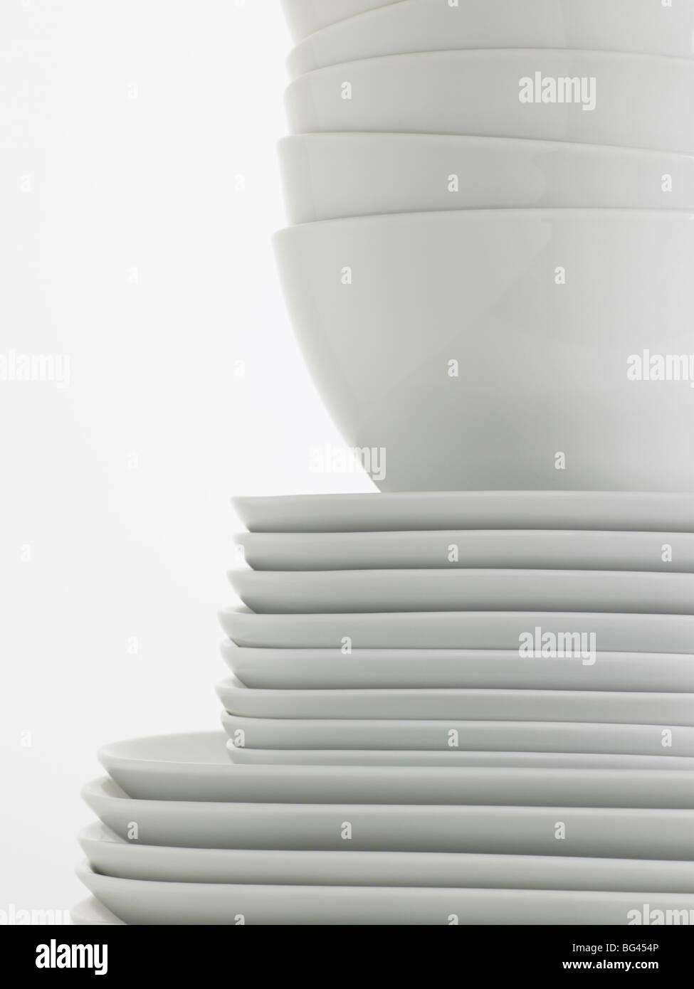 Pile de vaisselle blanche Photo Stock