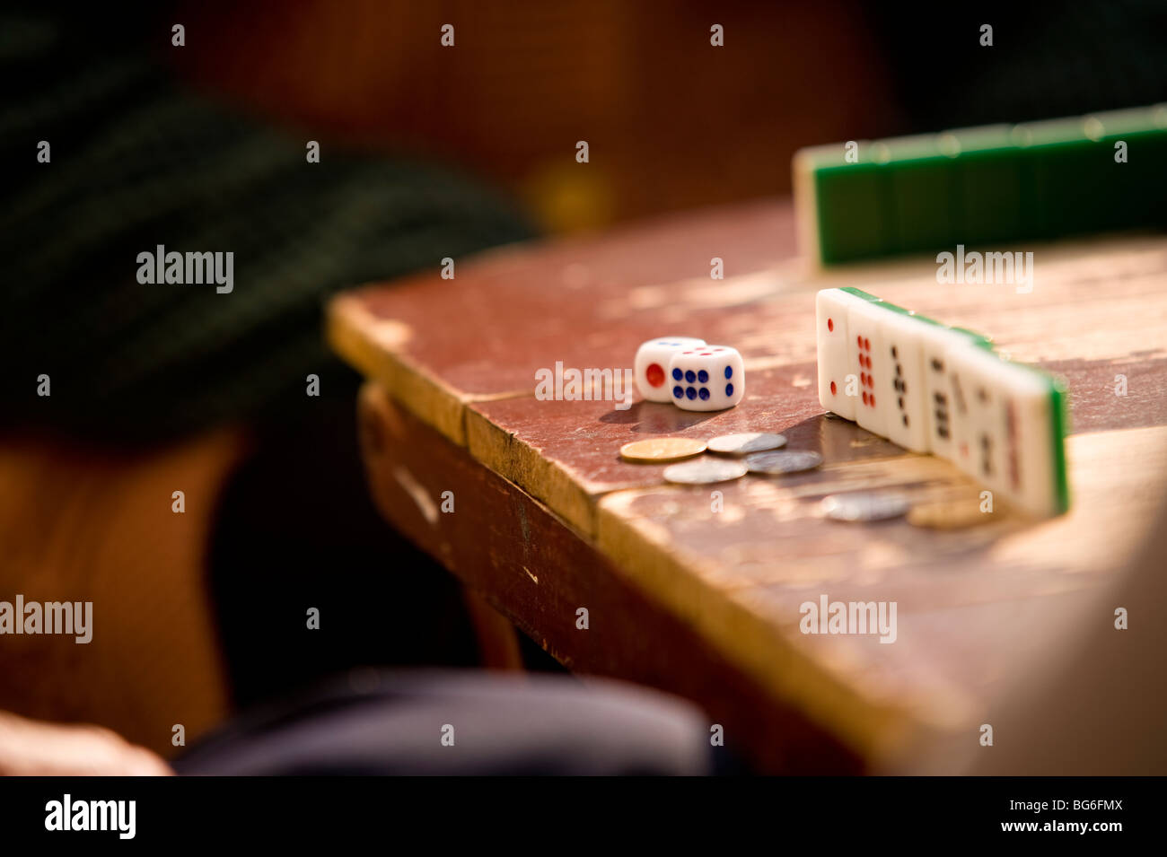 Jeu de Domino, la vieille ville, Shanghai, Chine Photo Stock