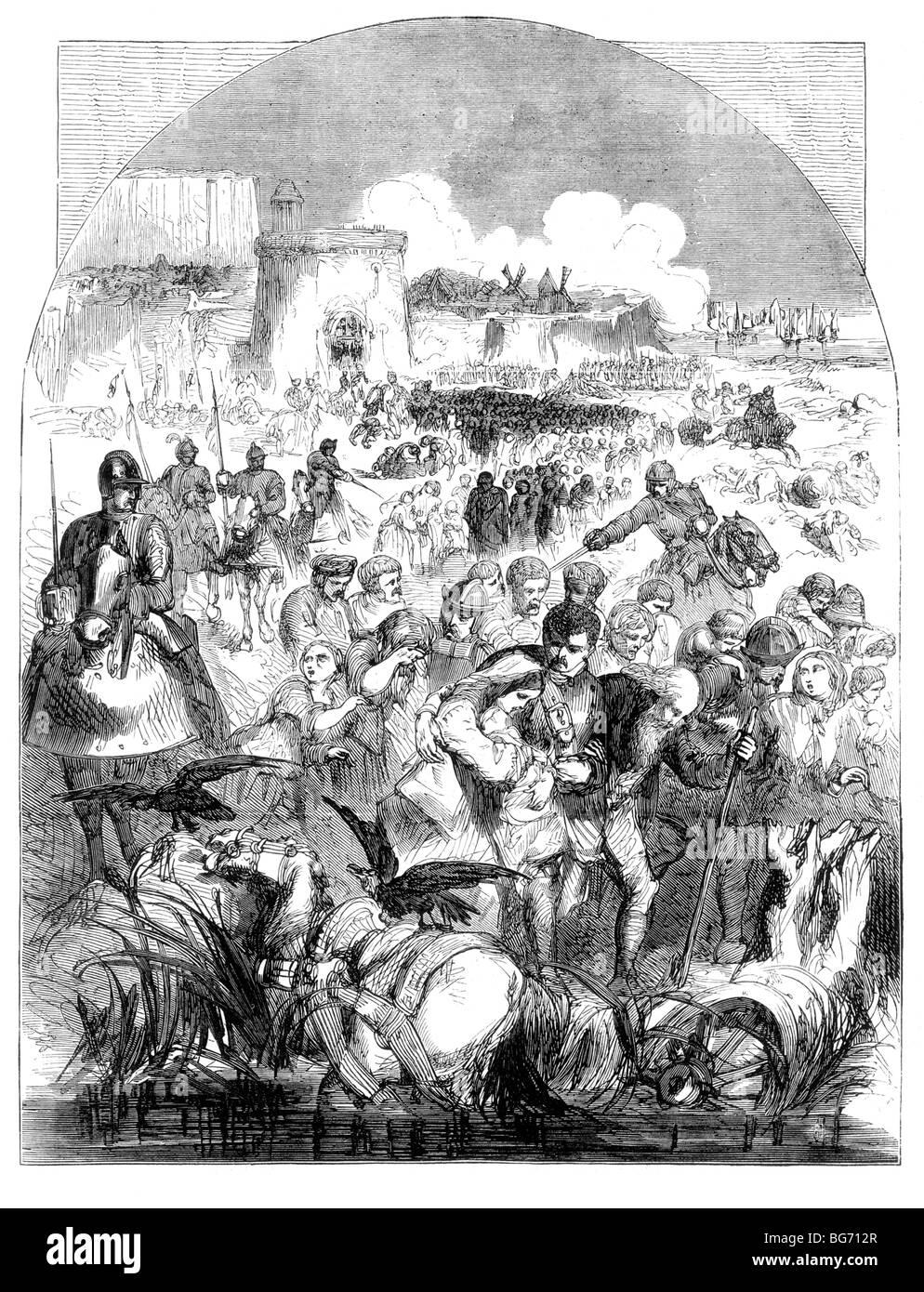 Le siège de Calais, départ des citoyens, Janvier 1558 Photo Stock