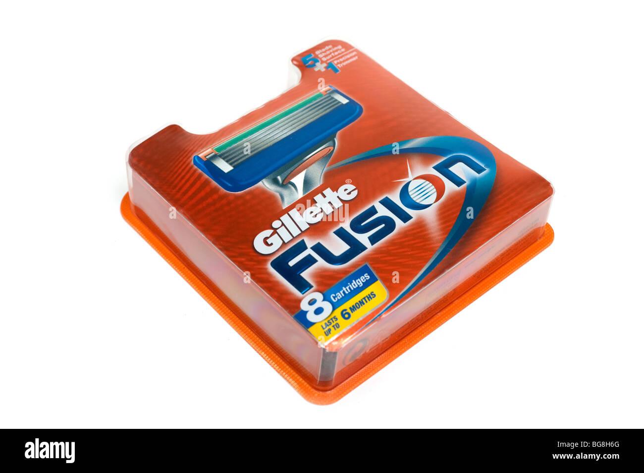 Le Fusion cartouche huit cinq lames rasoir pack Photo Stock