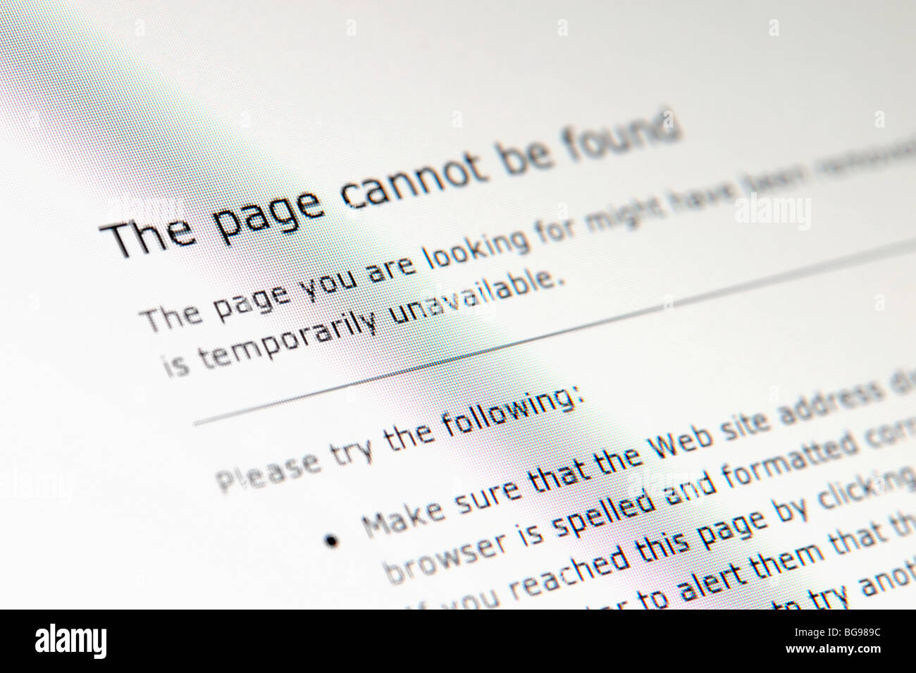 Page introuvable error Photo Stock