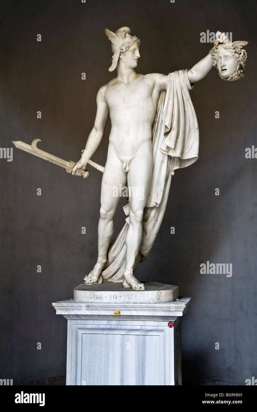 Statue de Persée avec la tête de Méduse par Antonio Canova, ca. 1800. Photo Stock