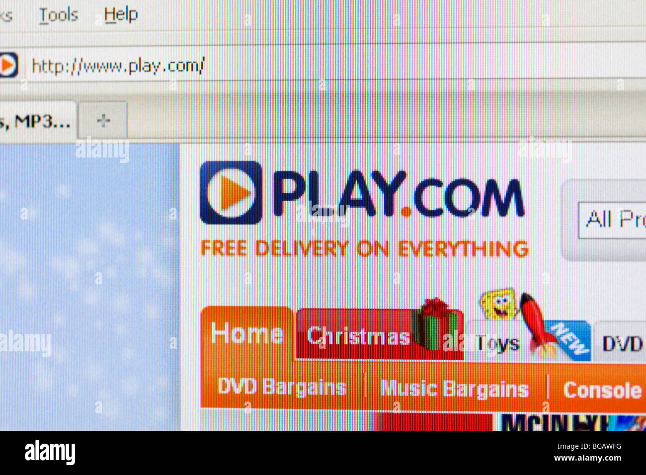 Capture d'écran de défunte play.com détaillant en ligne site montrant le logo de noël et Photo Stock