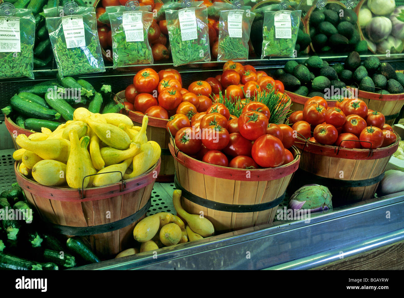 Légumes frais at produce stand, Californie Photo Stock