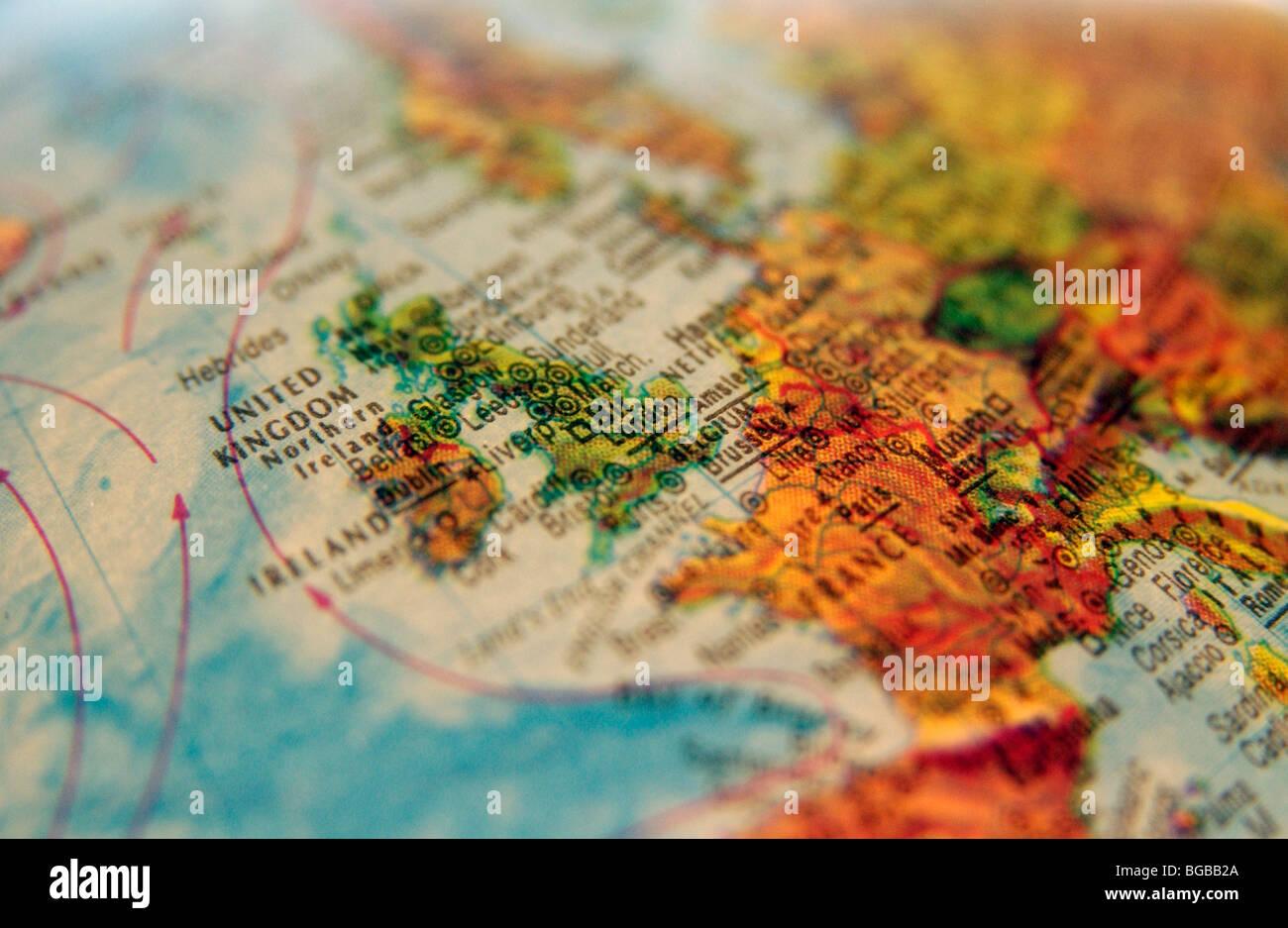 Photographie d'UK Angleterre Royaume-Uni globe cartes atlas voyage Banque D'Images