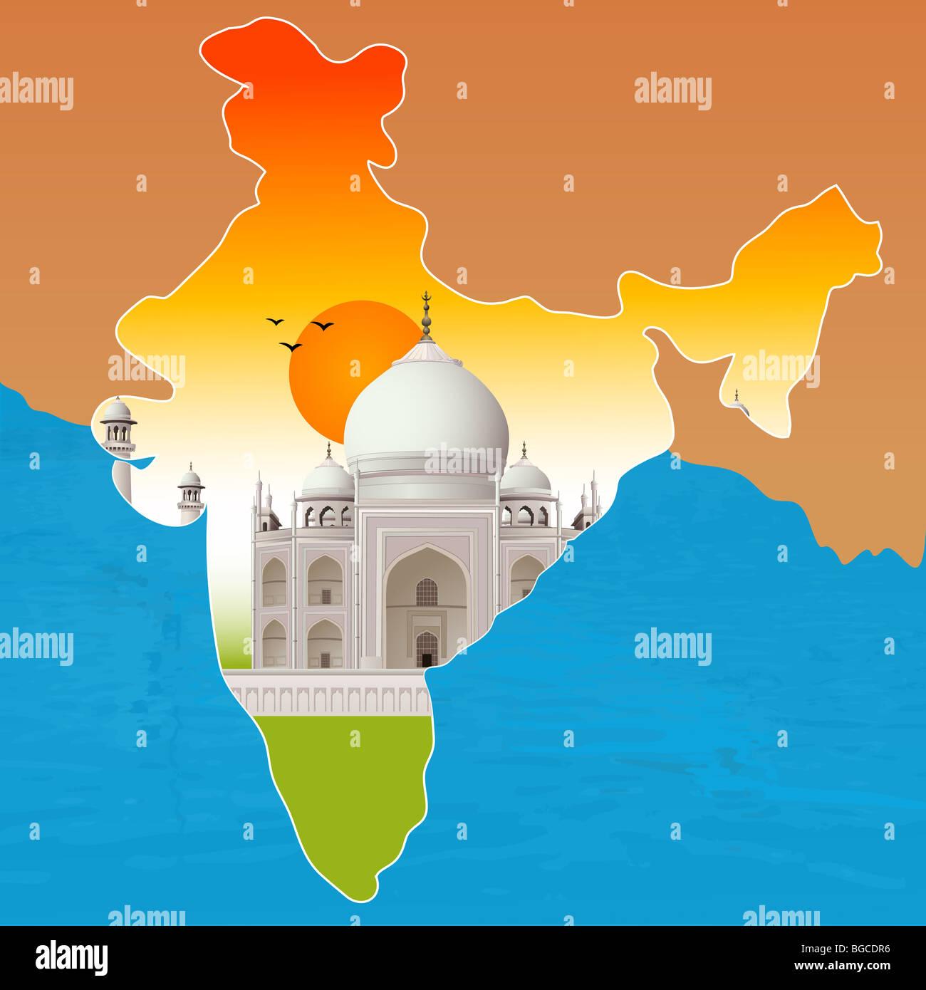 Carte De Linde Agra.Taj Mahal Agra Contour Carte De L Inde Banque D Images