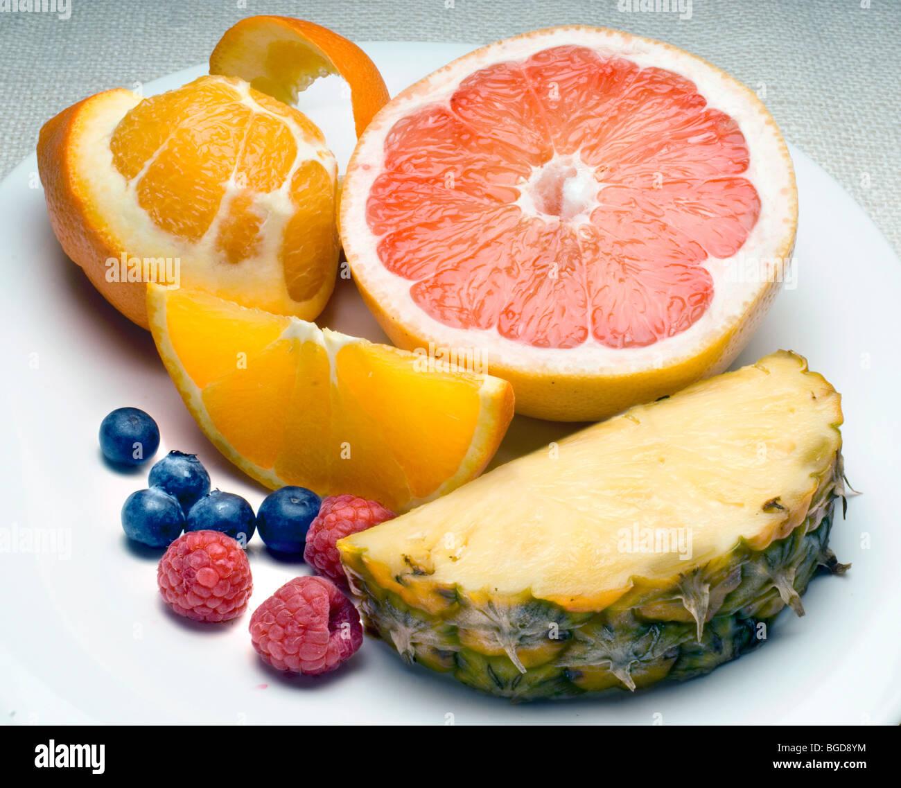 assiette de fruits Photo Stock