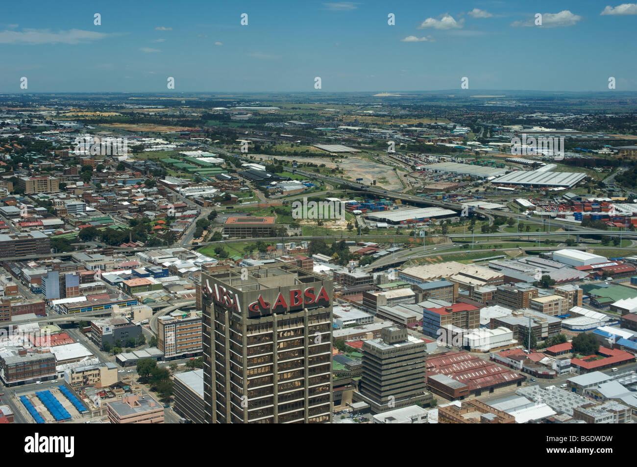 Du point de vue du dessus du Carlton Centre, Johannesburg, Afrique du Sud, du centre-ville de Johannesburg Photo Stock