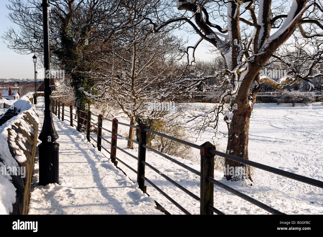 Des murs de neige à Chester Janvier 2010 Photo Stock