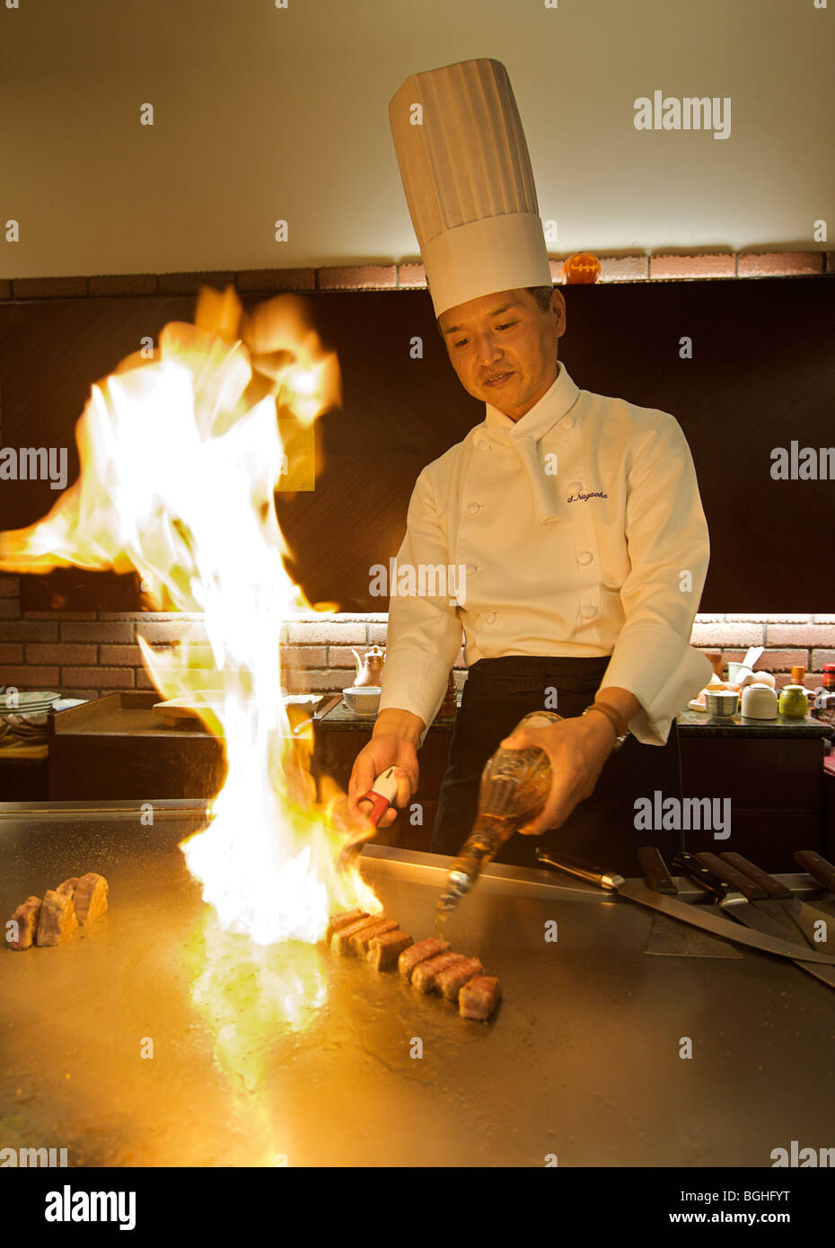 Nagaoka-san. Teppan expert chef. Kyoto, Japon Photo Stock