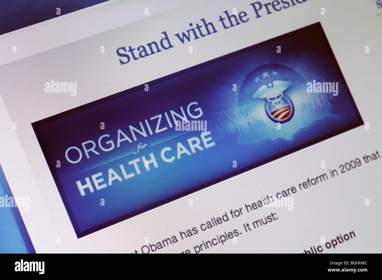 Site web des soins de santé aux États-Unis Photo Stock