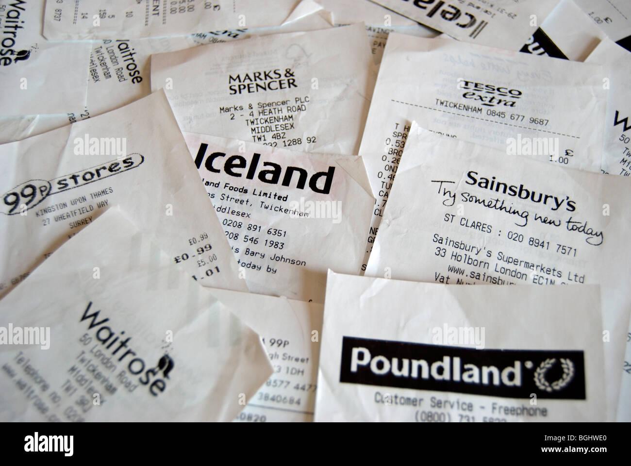 Dispersés de caisse de supermarchés britanniques Photo Stock