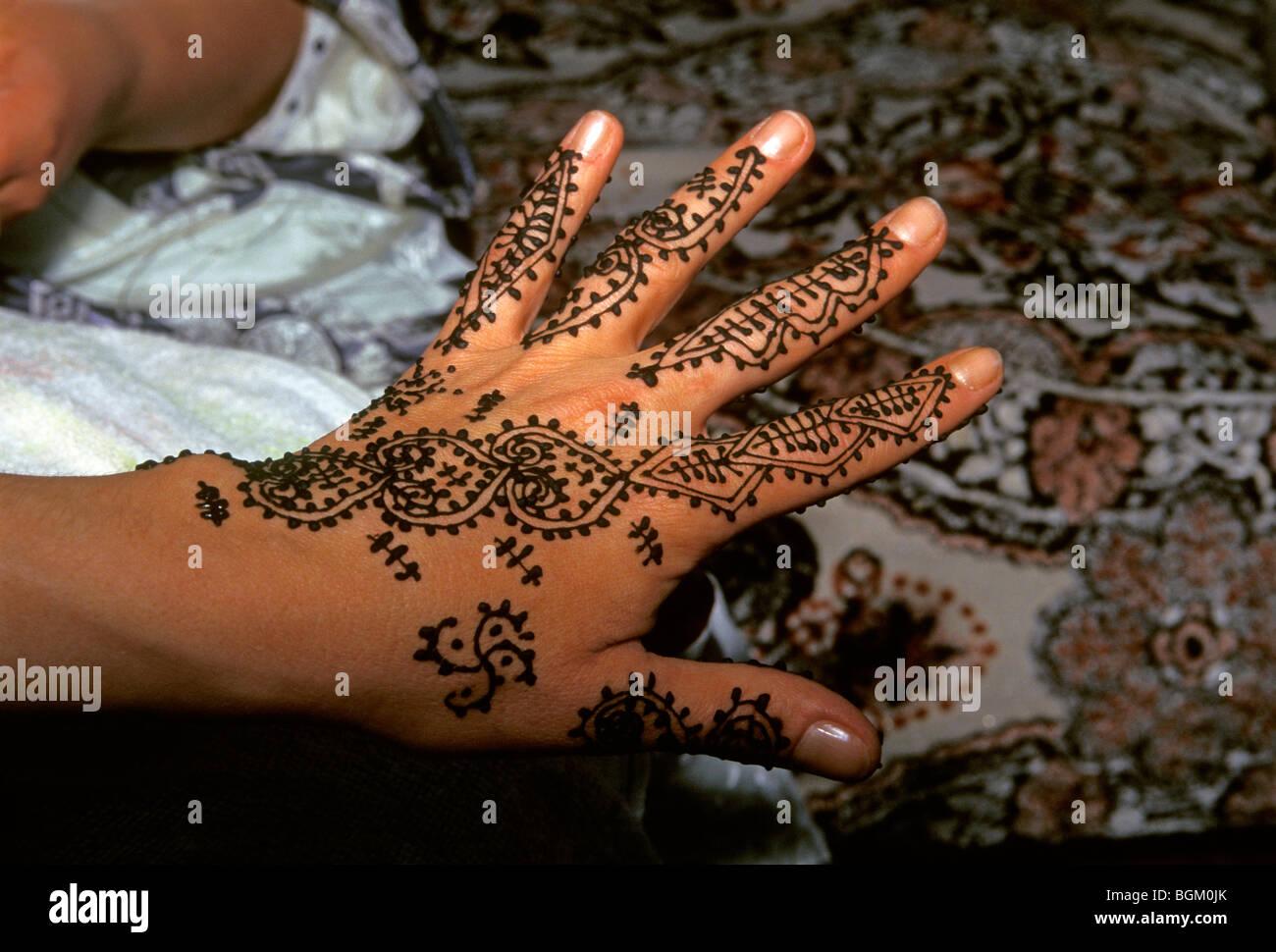 Tatouage au henné, henné, tatouage, tatouage, tatouage, la main, la peau de l'art, l'art corporel, Photo Stock