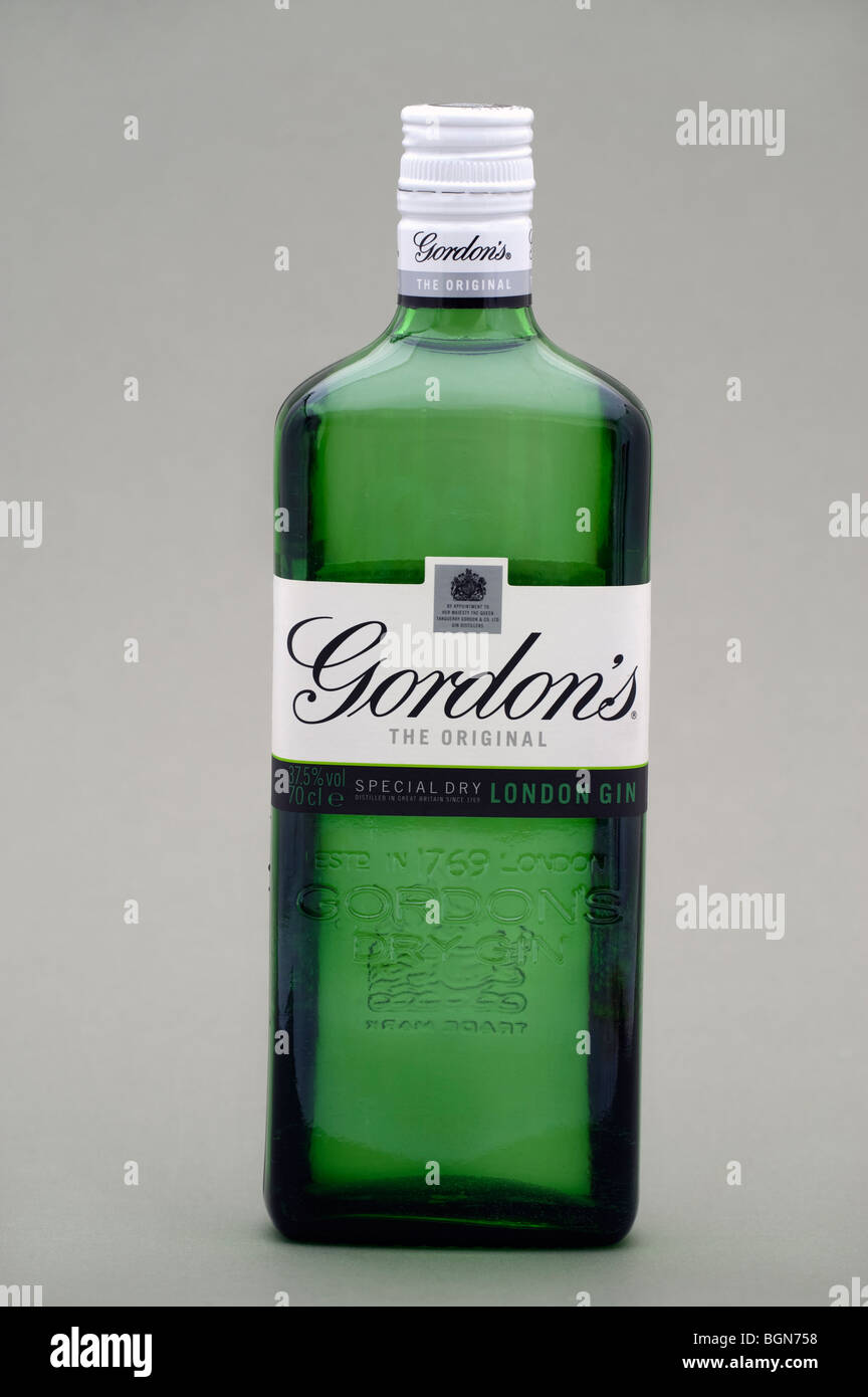 Bouteille de gin original Gordons Photo Stock