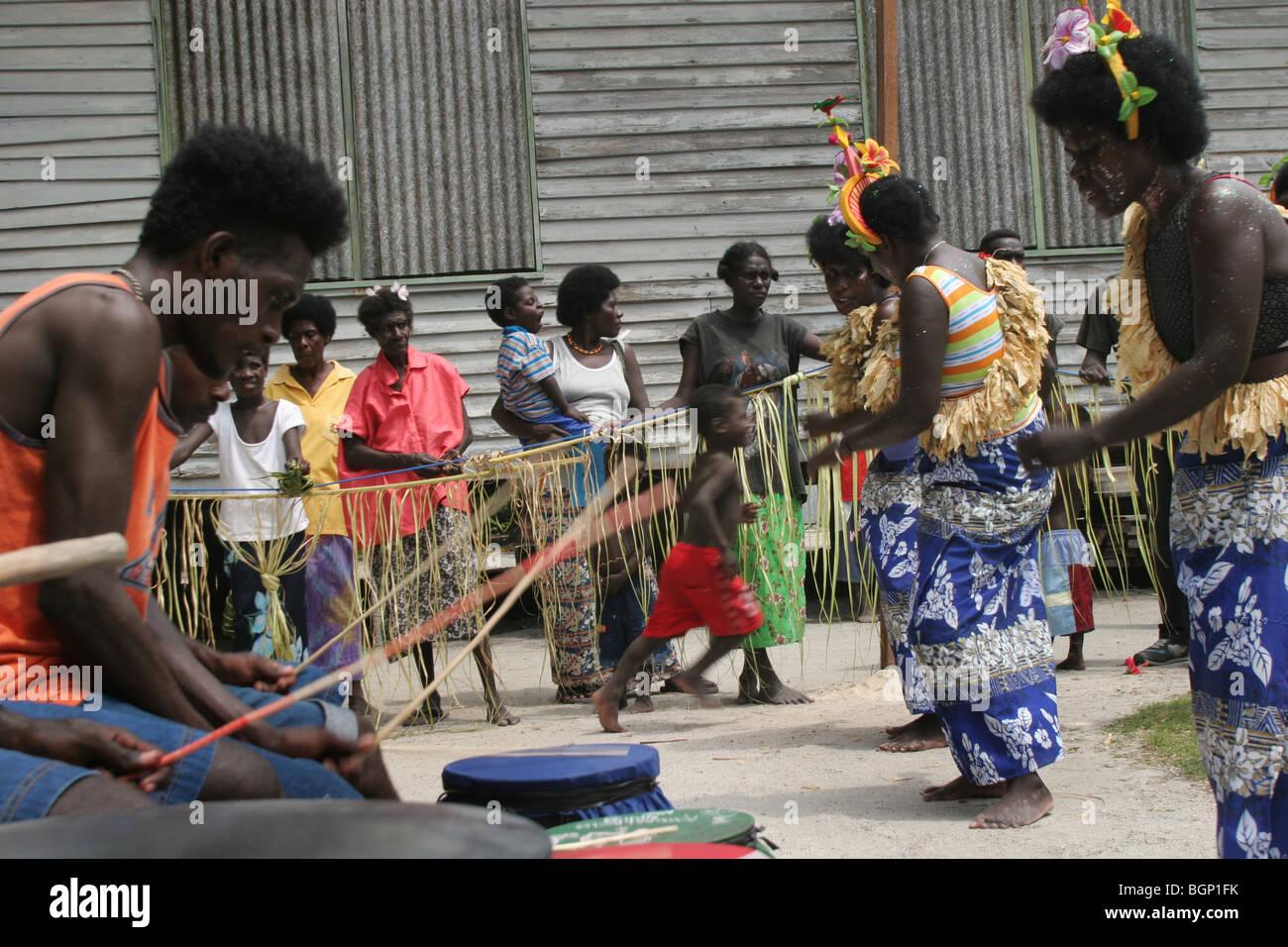 'L'école' de clôture des festivités et de la vie sur l'île de Han, Carterets Photo Stock