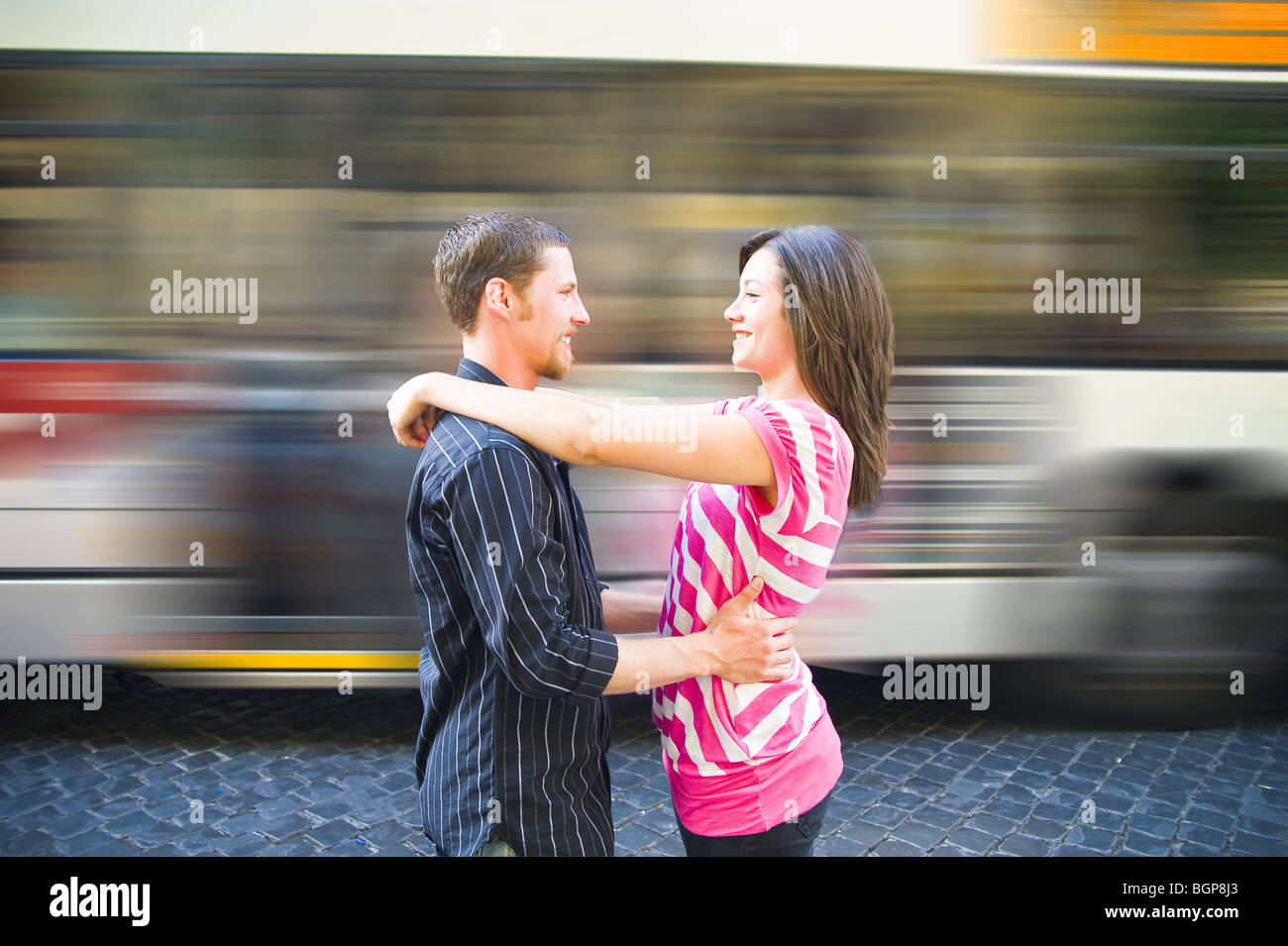 Young couple at train station Photo Stock