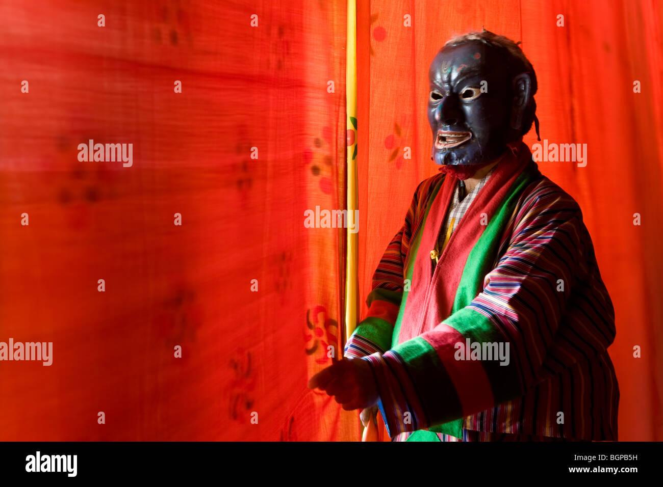 Homme masqué, Festival, Trashichhoe Dzong (monastère), Thimpu, Bhoutan Photo Stock