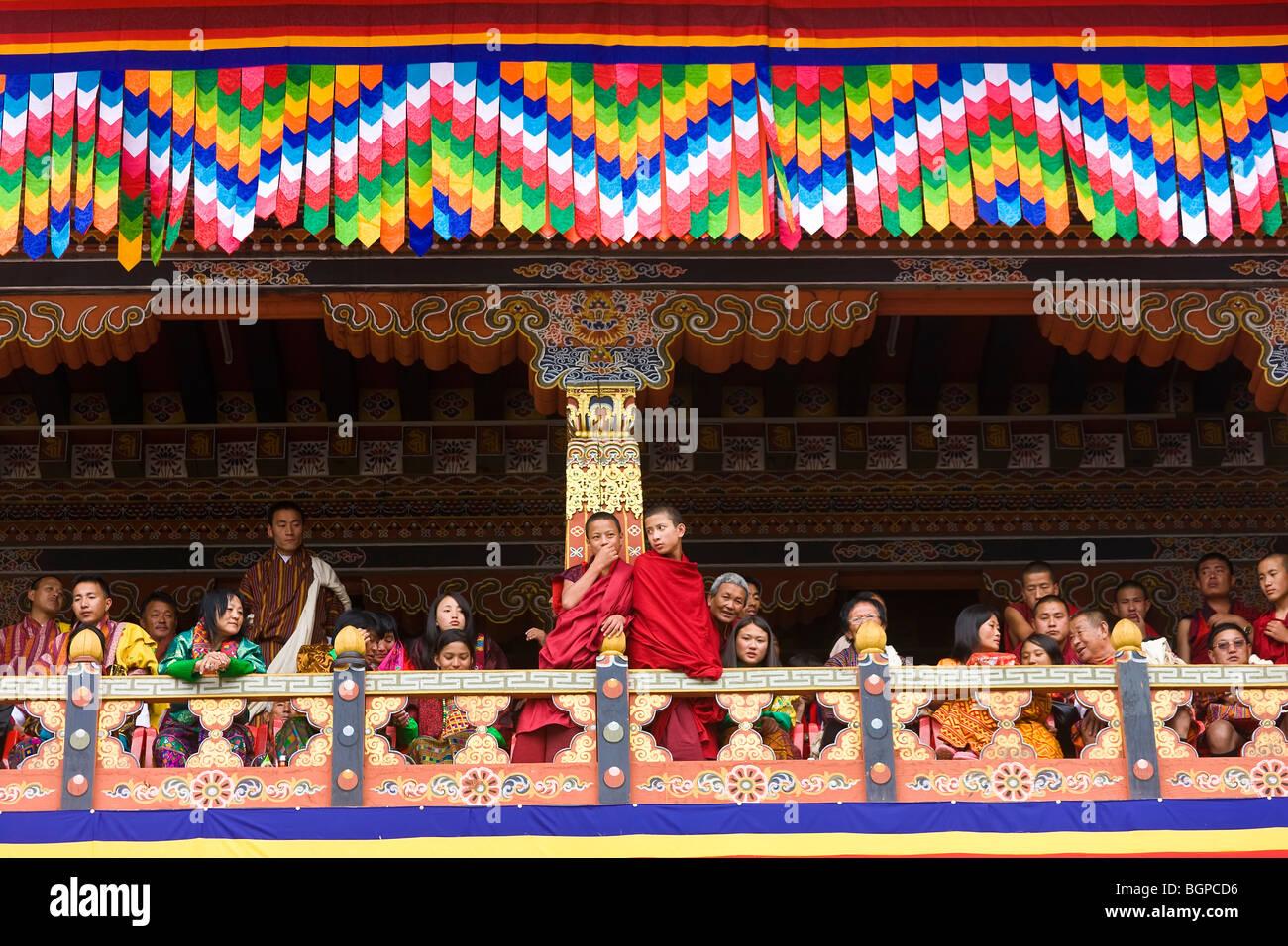 Public, Festival, Trashichhoe Dzong (monastère), Thimpu, Bhoutan Photo Stock