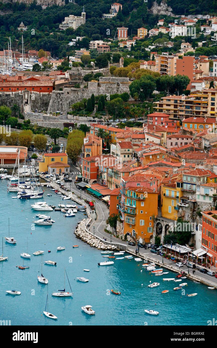 Vue de Villefranche sur Mer, Côte d'Azur, Alpes Maritimes, Provence, France. Photo Stock
