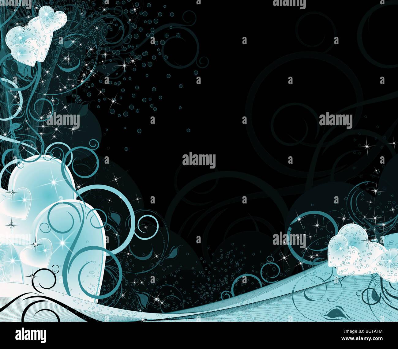 Valentines bleu et noir avec des coeurs d'arrière-plan, le motif, l'ornement et stars Photo Stock