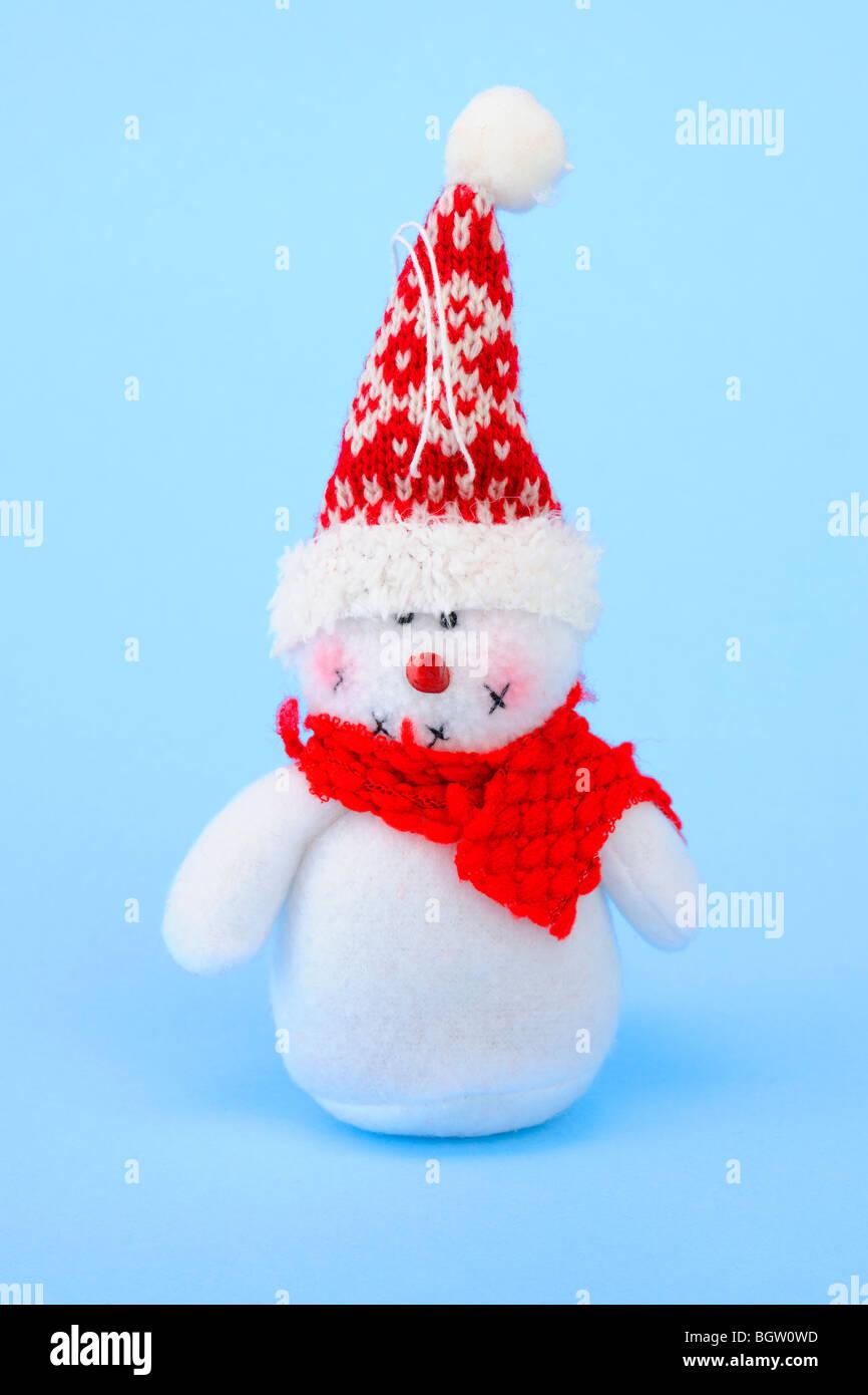Bonhomme de neige en tissu, peluche Photo Stock