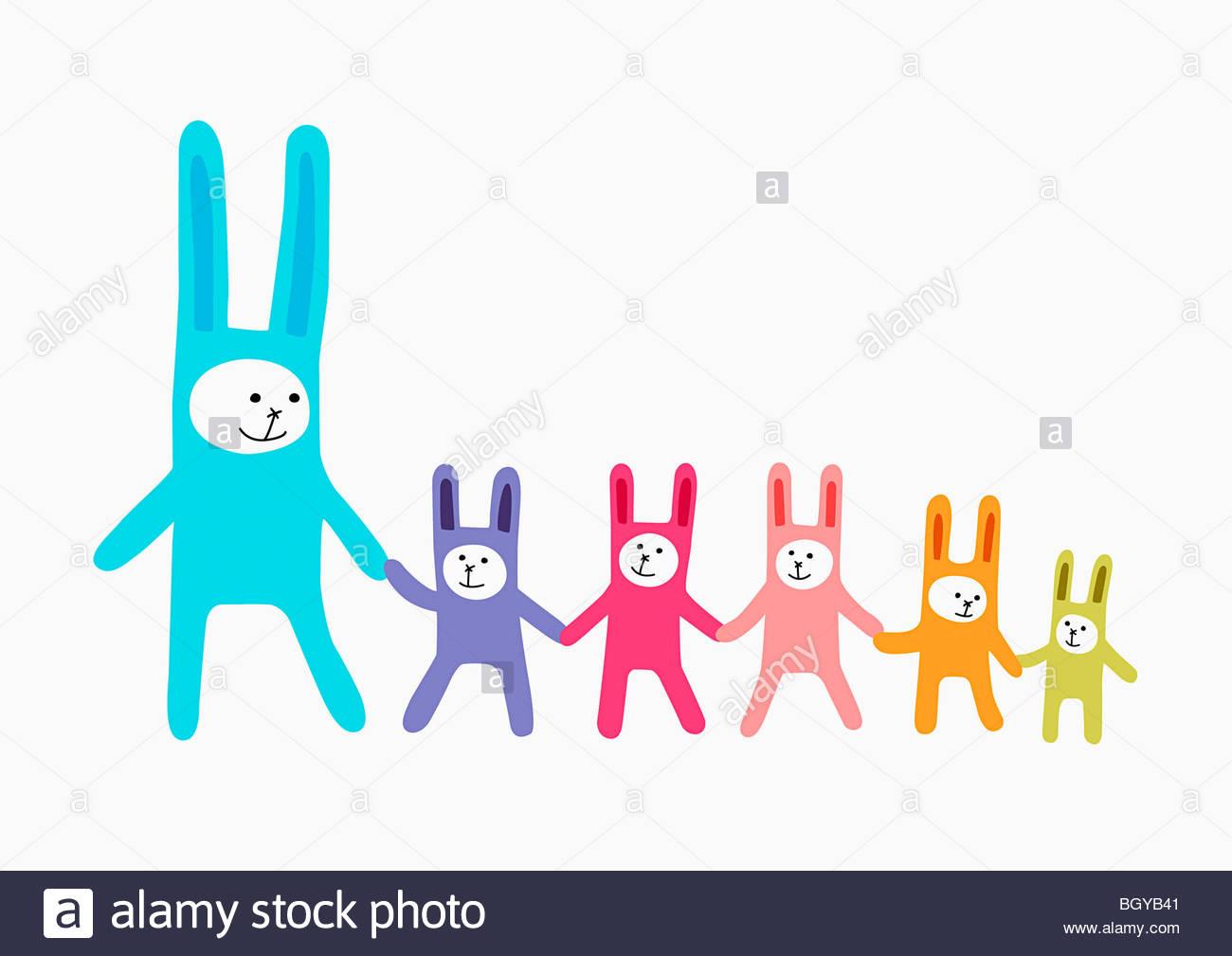 Famille des lapins Photo Stock