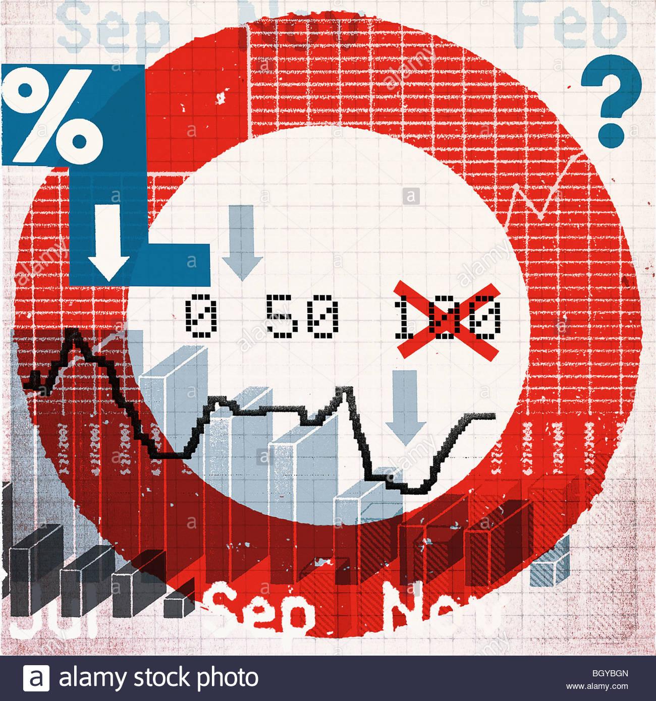 Montage de symboles et données financières Photo Stock