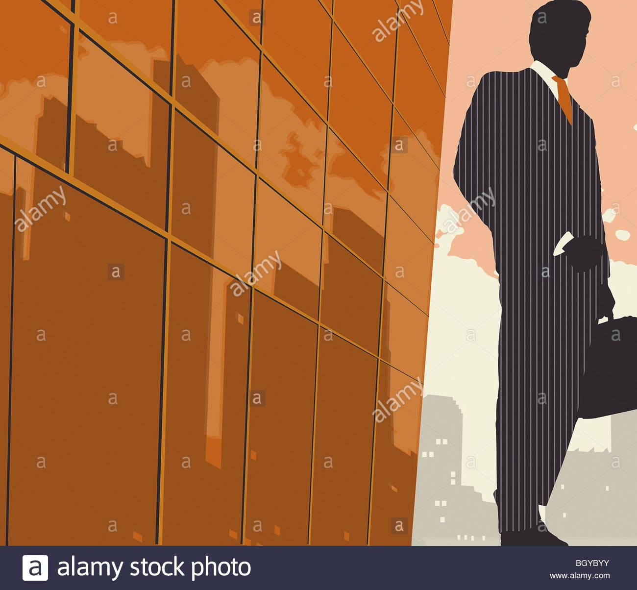 Businessman sur trottoir avec porte-documents Photo Stock