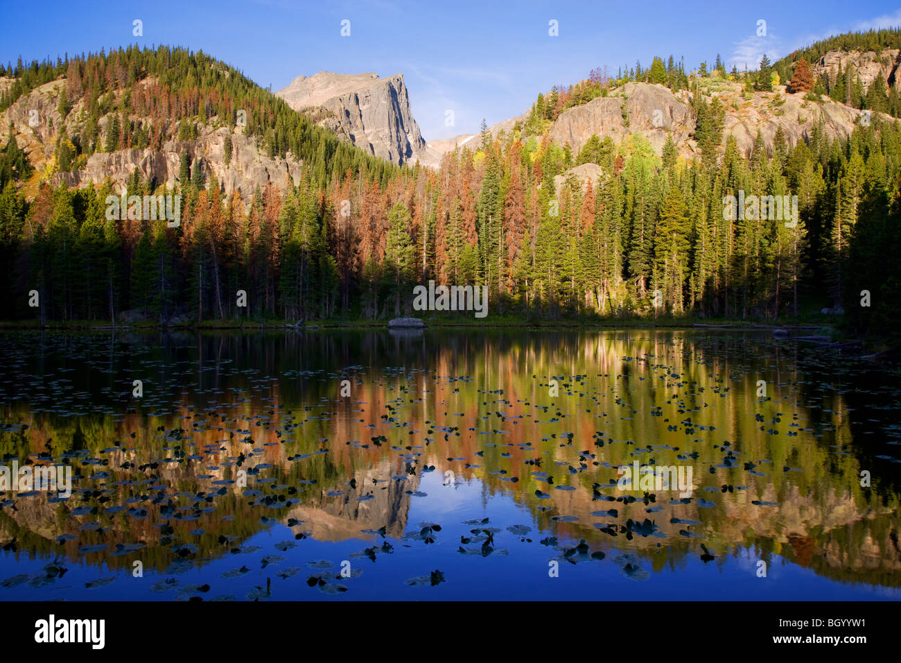 Lac de nymphe, Rocky Mountain National Park, Colorado. Photo Stock
