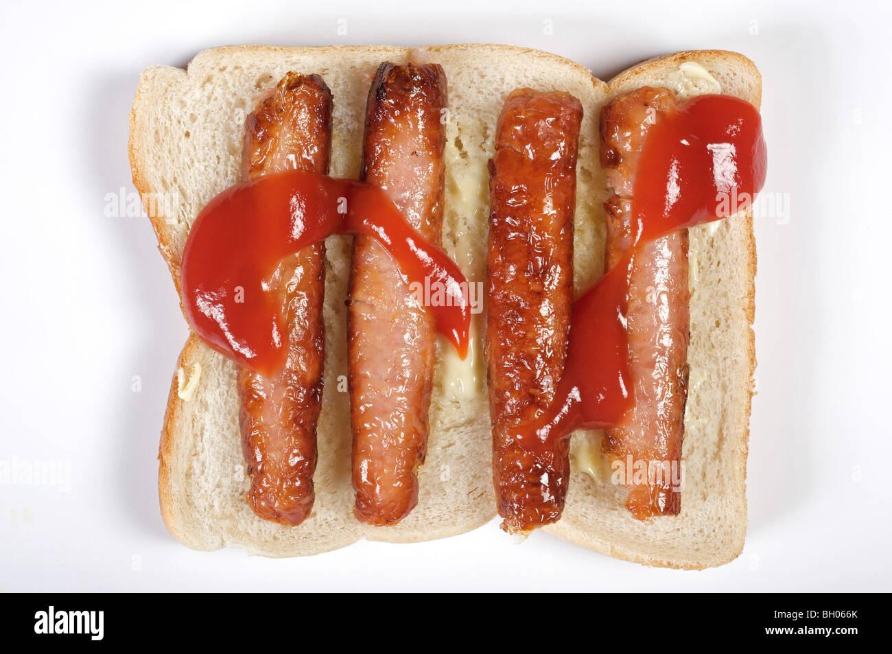 Sandwich saucisse avec ketchup Banque D'Images