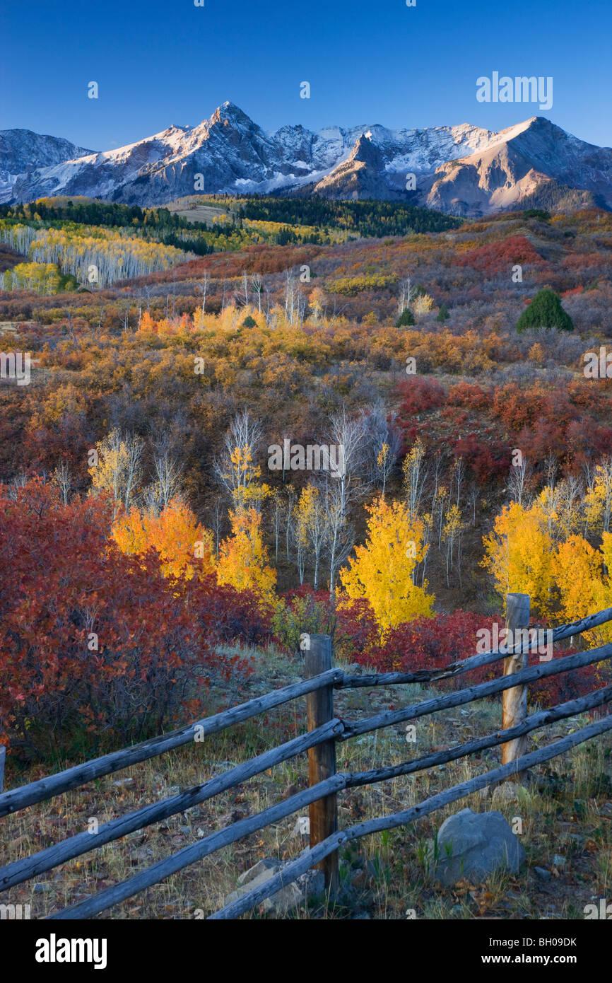 Couleurs d'automne et le Sneffels Range, montagnes de San Juan, Dallas Divide, Colorado. Photo Stock