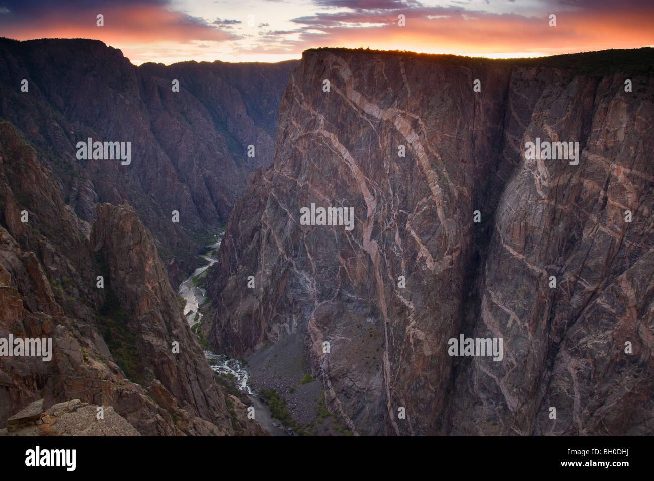 Mur peint, Parc National Black Canyon of the Gunnison, Colorado. Photo Stock