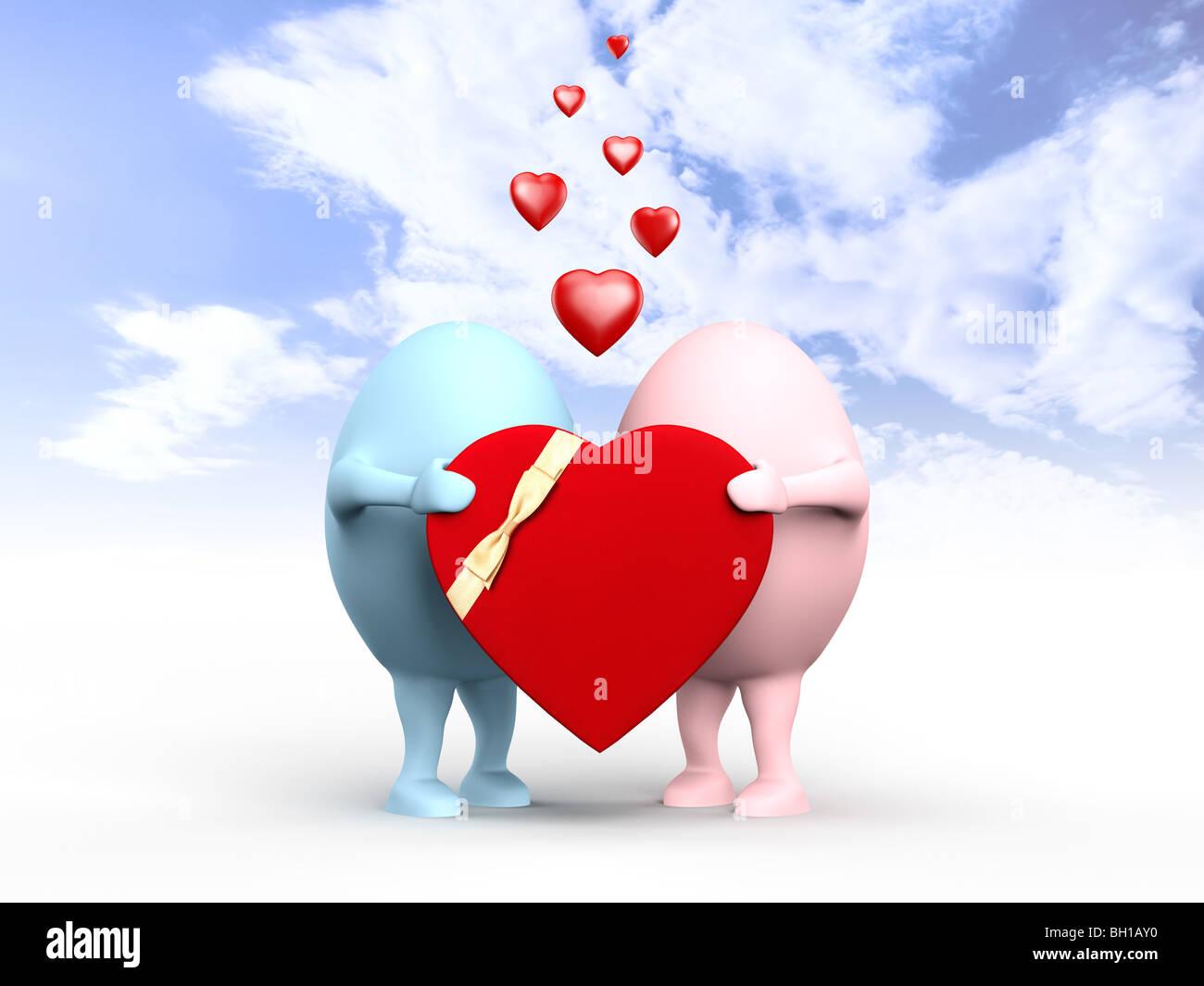 3D illustration d'un couple de egghead caractères dans l'amour tenant un red valentine under blue sky Photo Stock