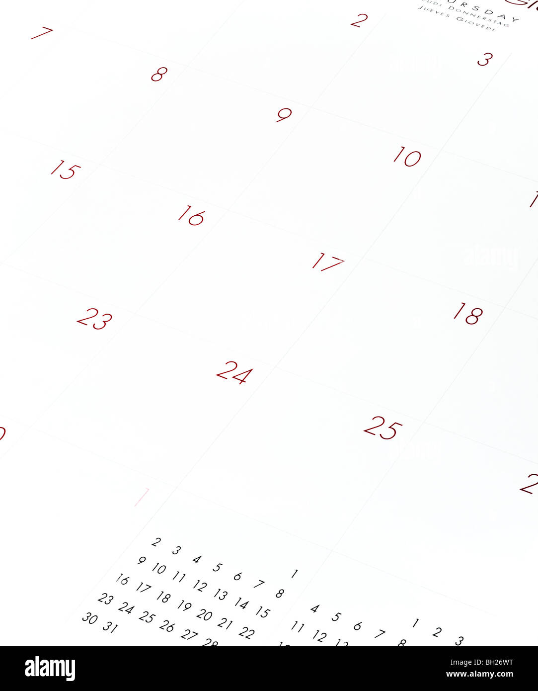 Calendrier vide page close up Photo Stock