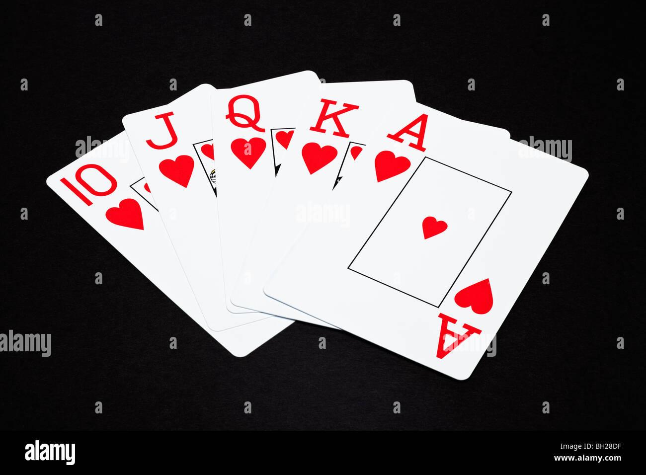 Jeu de cartes montrant une main de poker Royal Flush Photo Stock