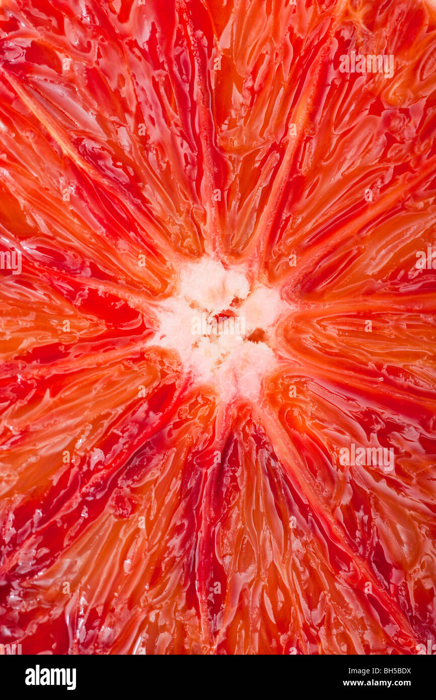 Extreme close-up of a blood orange. Photo Stock