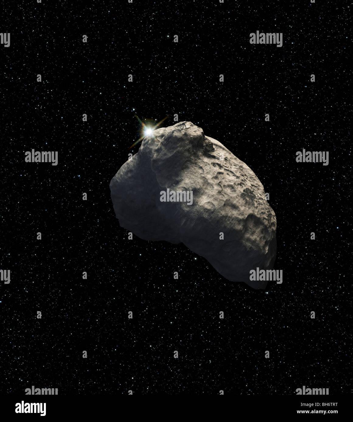 Une vue d'artiste d'un demi-mile de diamètre de l'objet de la ceinture de Kuiper. Photo Stock