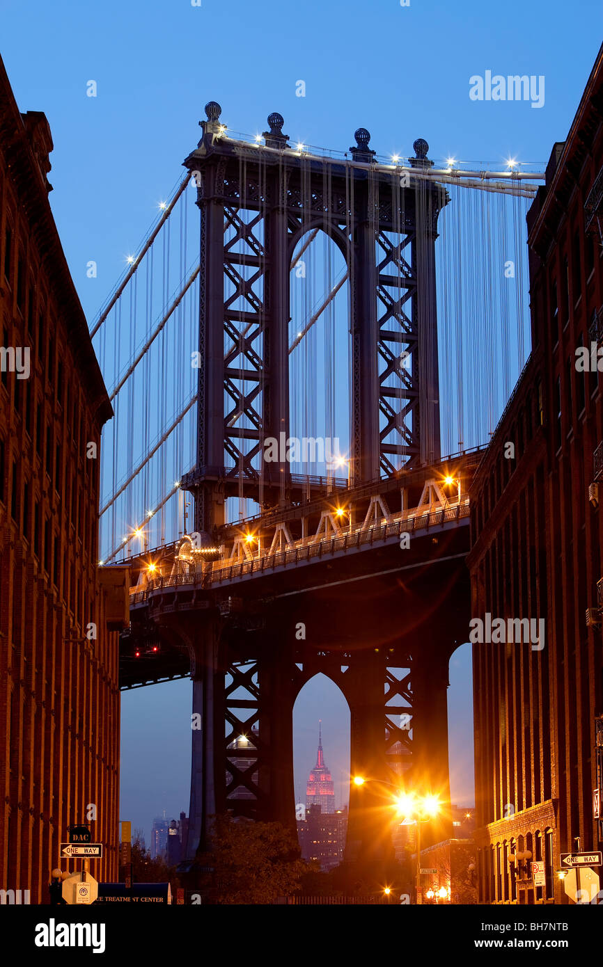 USA, New York, Manhattan, Manhattan Bridge Photo Stock
