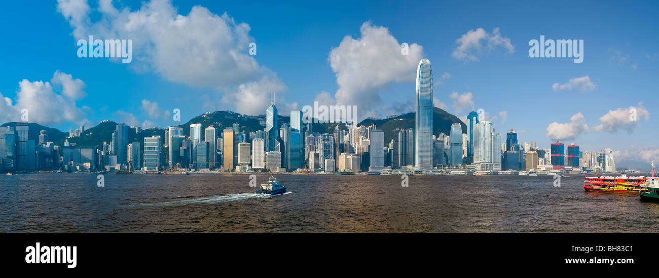 Toits de Central, l'île de Hong Kong, le port de Victoria, Hong Kong, Chine, Asie Photo Stock