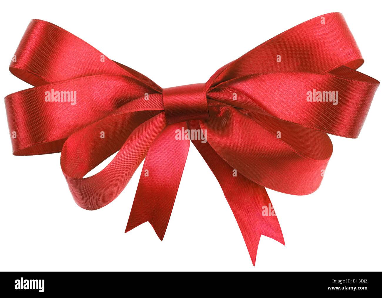 Bow, faite de ruban de soie rouge Photo Stock
