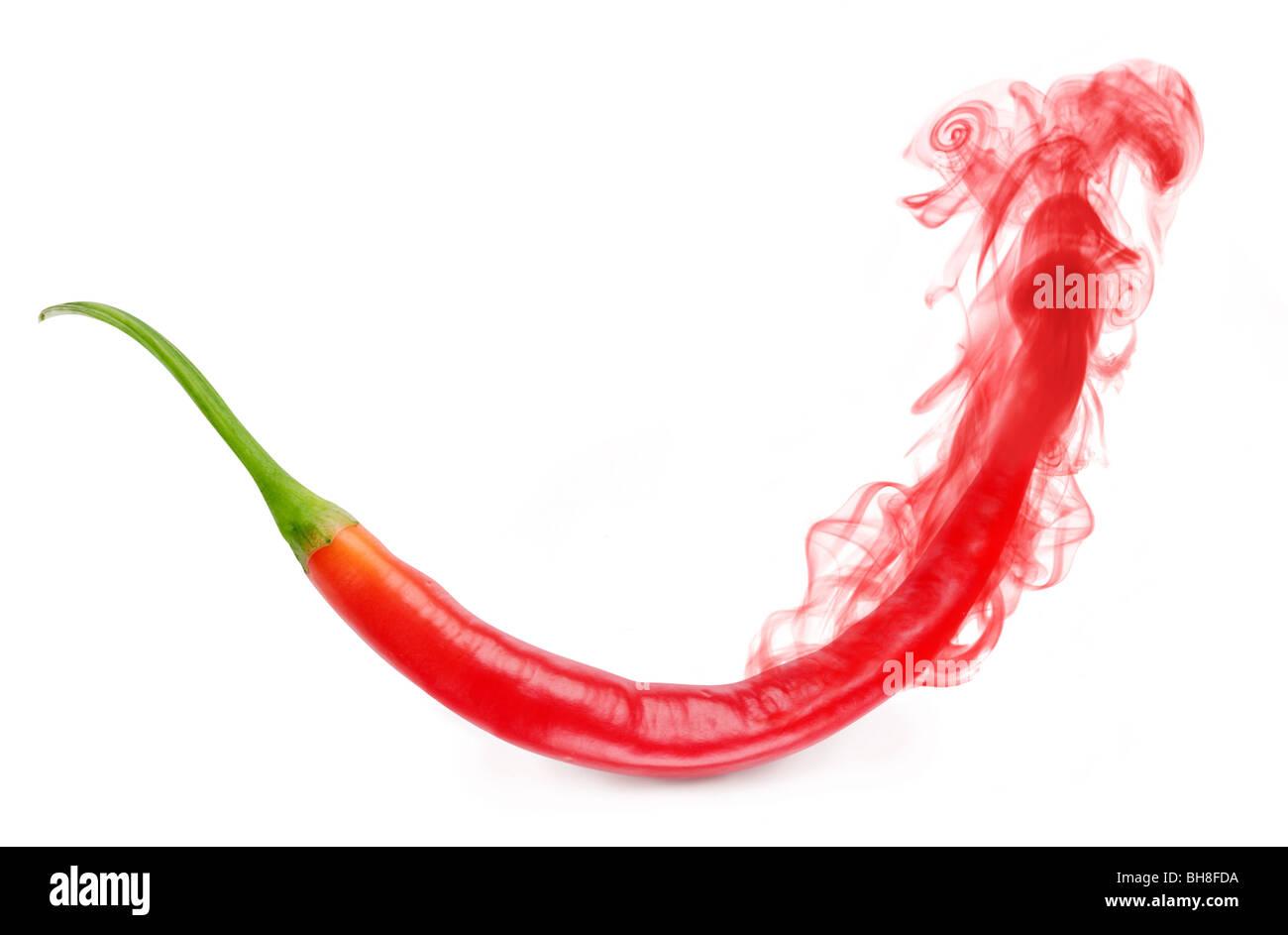 L'arôme de poivron rouge s'évapore sous forme de fumée Photo Stock