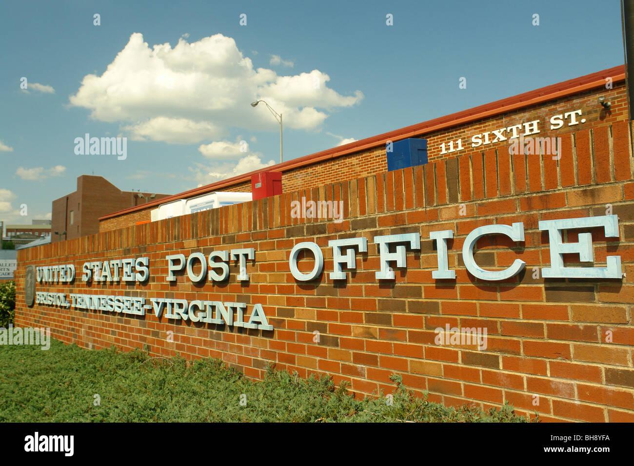 AJD64395, Bristol, VA, TN, Virginie, Maryland, United, centre-ville Bureau de poste de l'État Banque D'Images