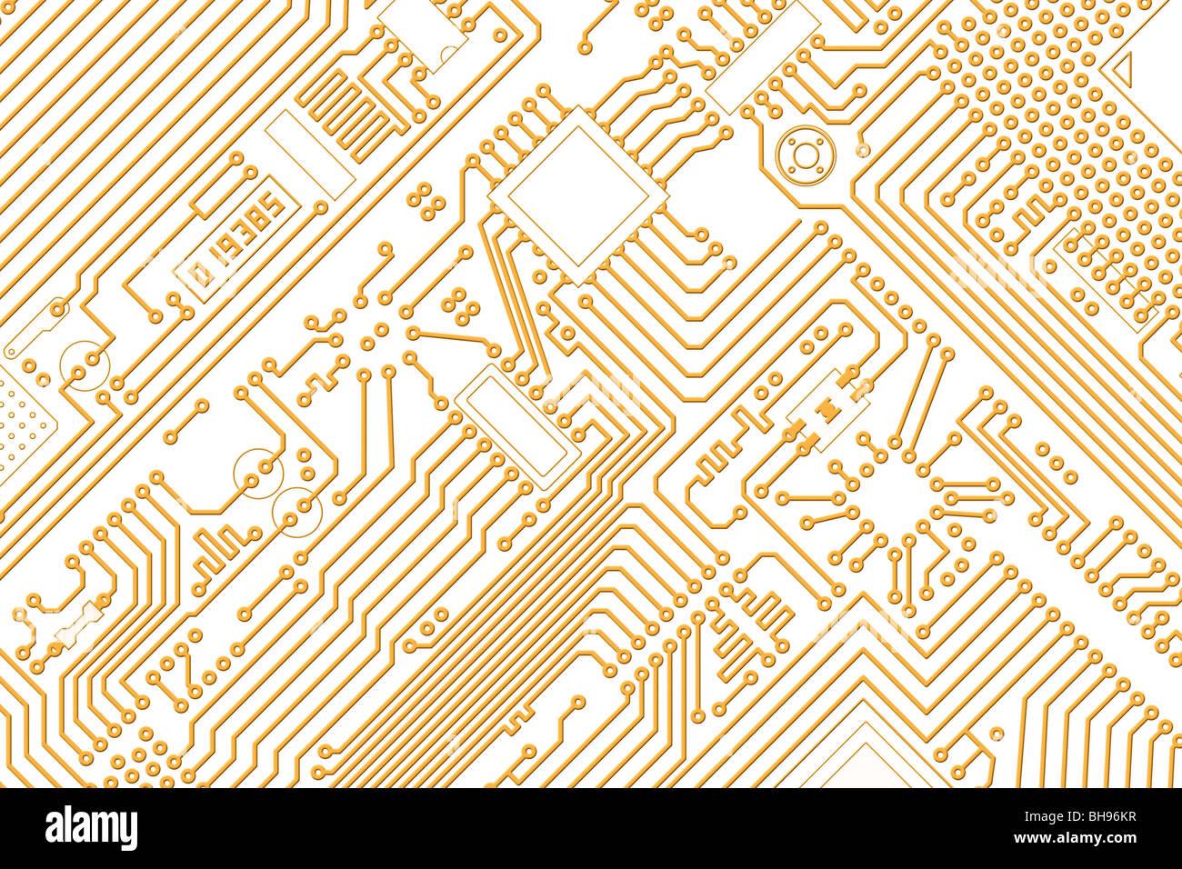 La haute technologie électronique industrielle d'or graphiques - Fond blanc Photo Stock