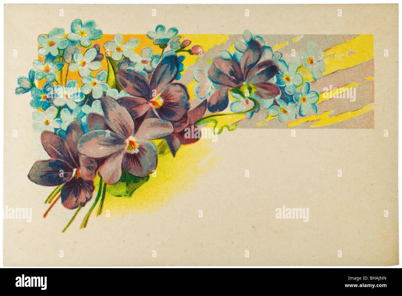 Vintage poster avec carte pensées violettes et myosotis Photo Stock