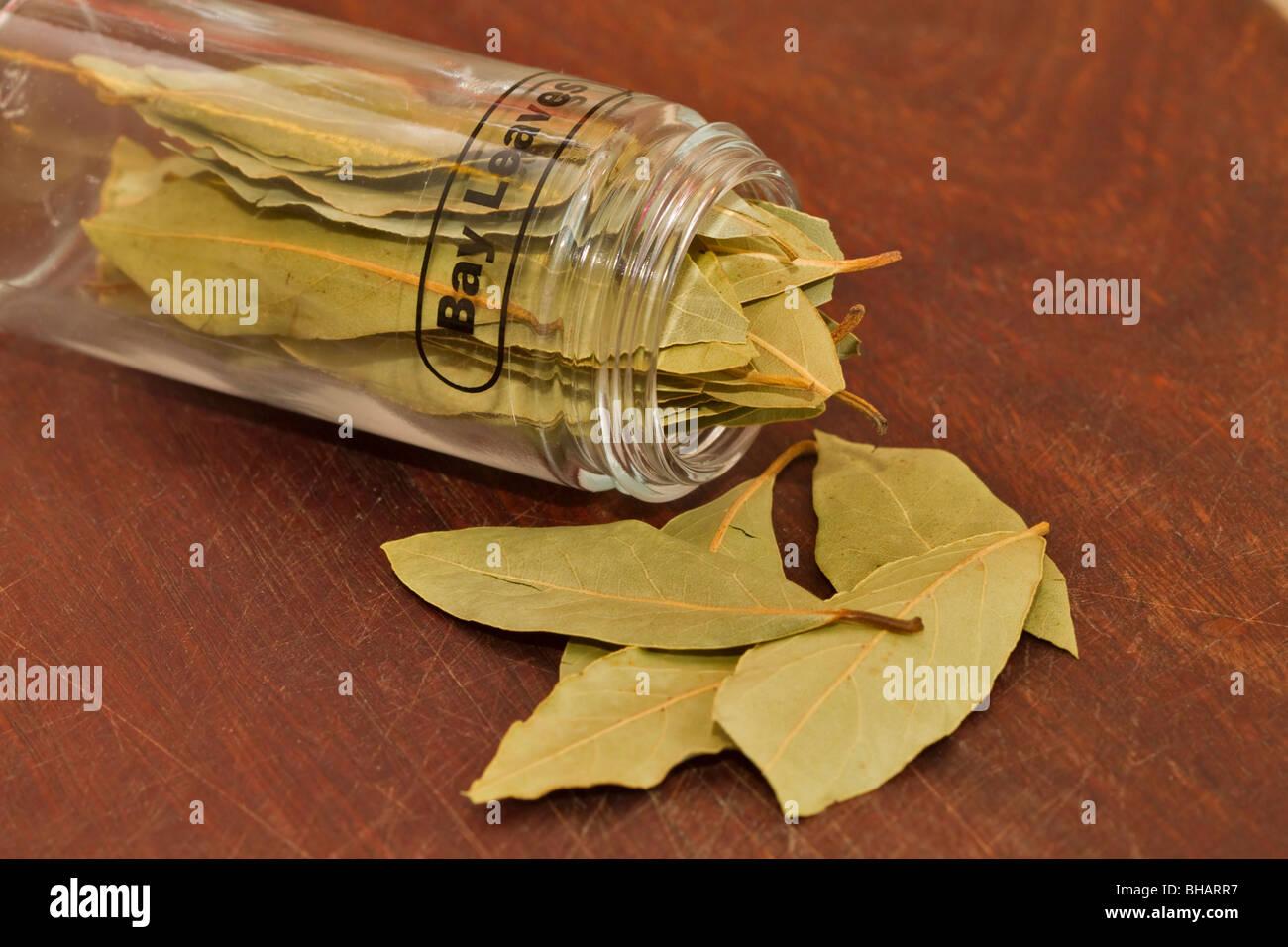 Les feuilles de laurier séchées sur une planche à découper Photo Stock