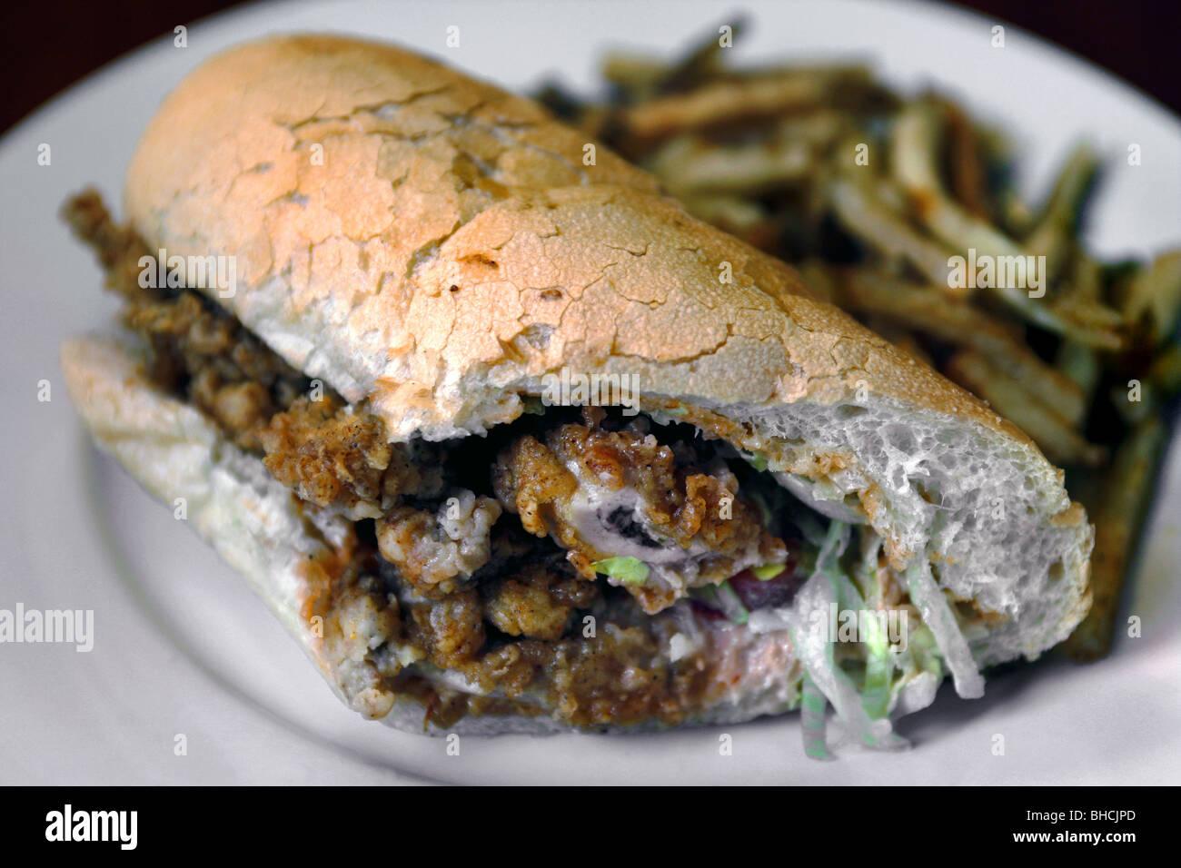 Huîtres frites po-boy Sandwich, New Orleans, Louisiane, USA Photo Stock
