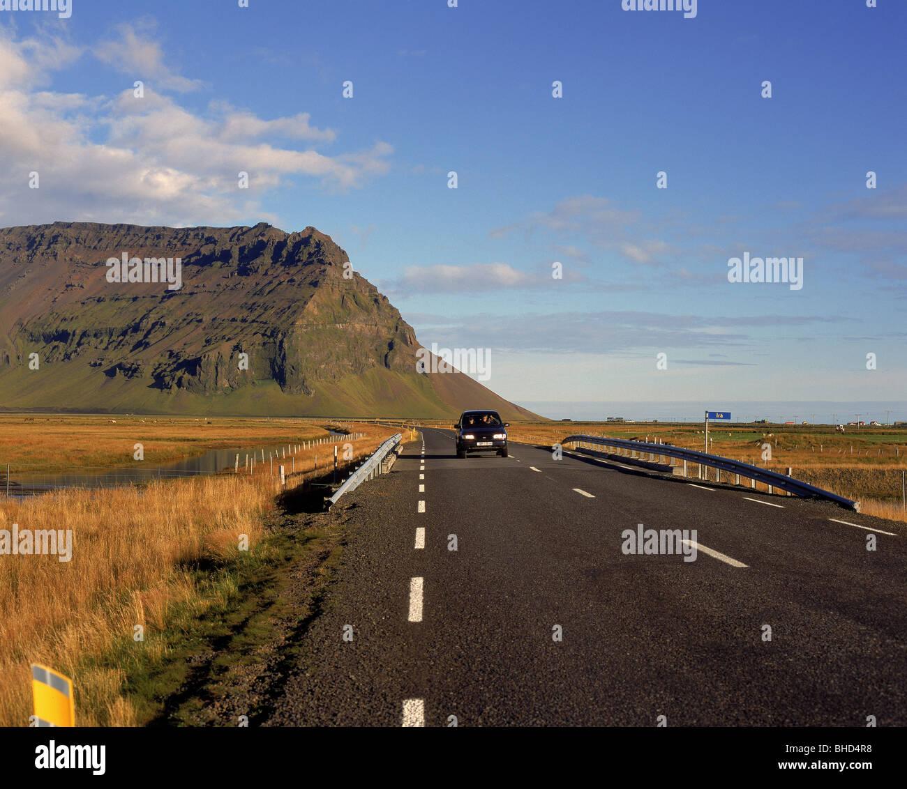 La conduite sur route 1 par zone, l'Islande Eyjafjoll Photo Stock